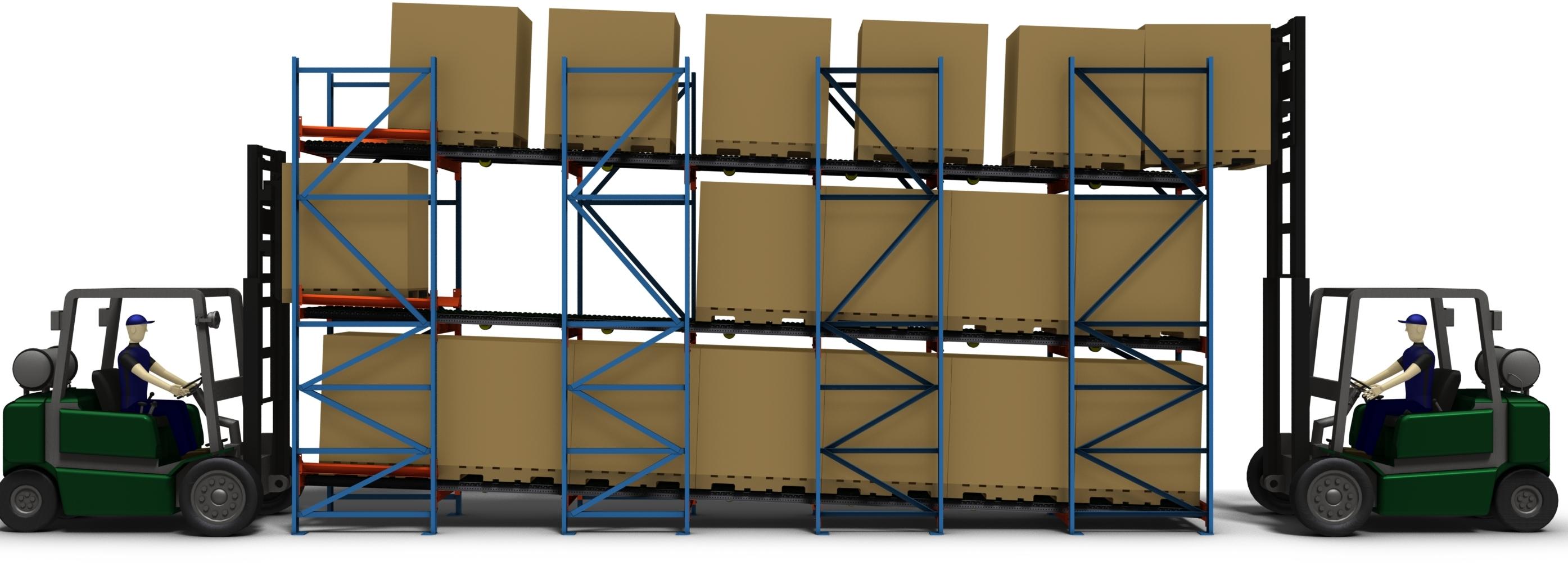 FIFO tárolócsatornás flow rendszerű állvány