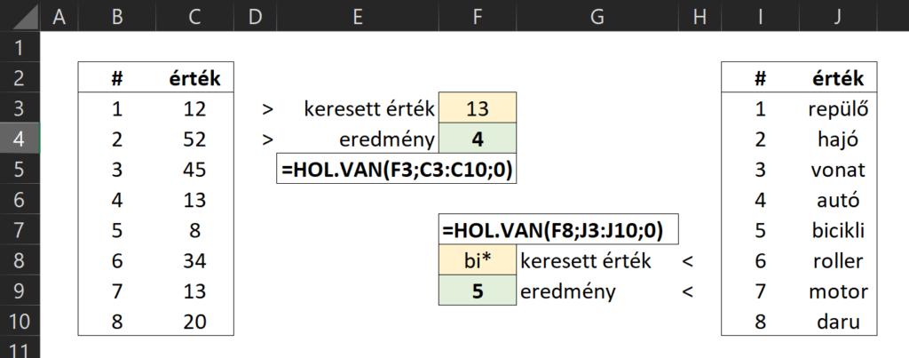 Excel HOL.VAN MATCH