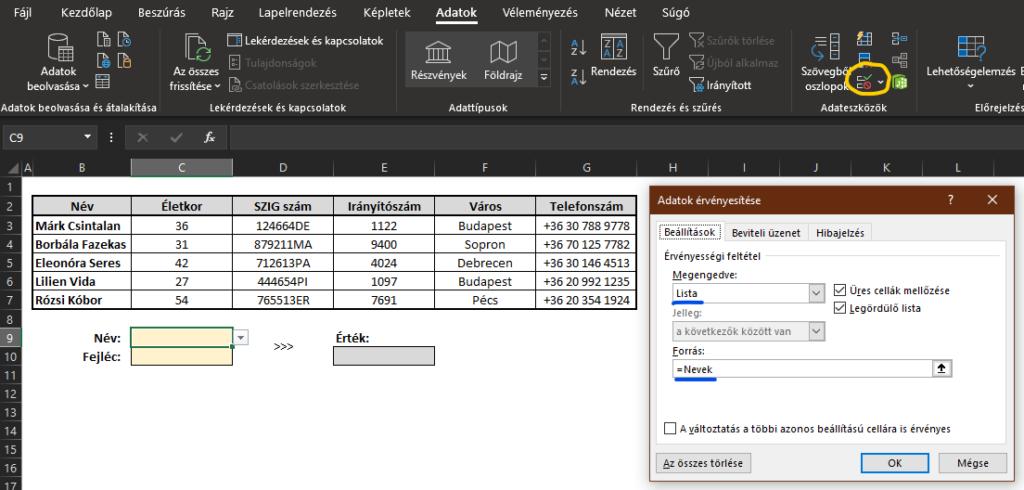 Excel érvényesítés
