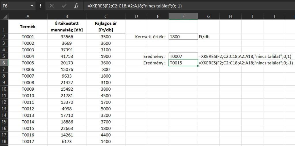 Excel XKERES példa